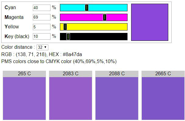 CMYK to Pantone - Find PMS colors close to CMYK color
