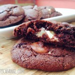 Cheesecake Stuffed Triple Chocolate Chunk Pudding Cookies