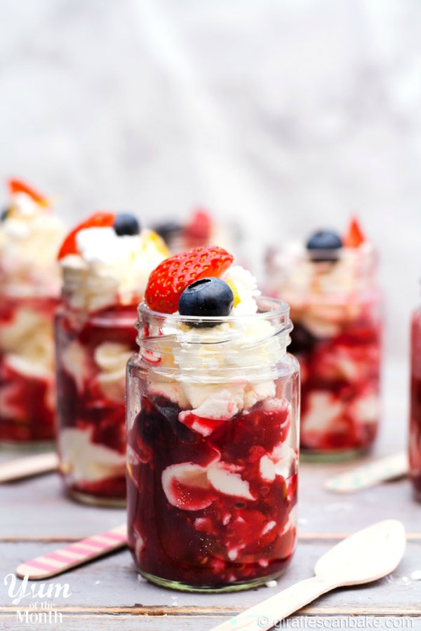 Berry Eton Mess Dessert Shots - The easiest, most delicious and cutest dessert you'll ever make! Layers of meringue, fresh whipped cream and berry compote make up these delicious Berry Eton Mess Dessert Shots - the perfect, easy summer dessert!