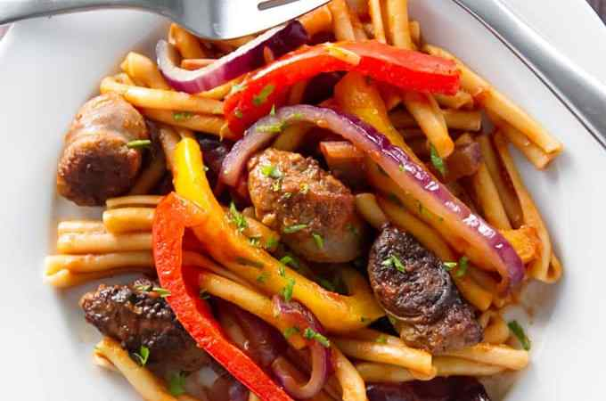 Sausage and Peppers Pasta | girlgonegourmet.com