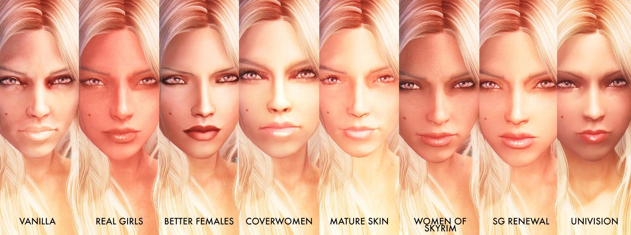 Skyrim Most Realistic Female Face Texture Mods Compares Skyrim