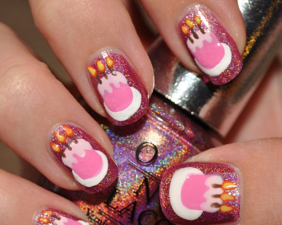 20 Happy Birthday Nail Art Ideas Designs For Girls 2013