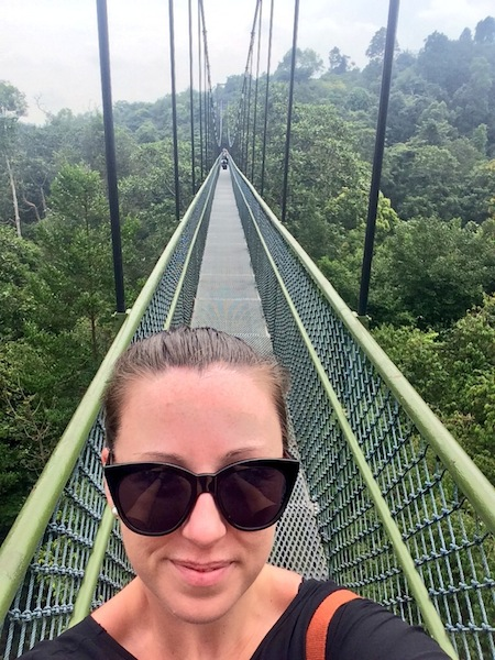 """""""I'm  a blogger, get me out of here!"""" On the MacRitchie free-standing suspension bridge."""