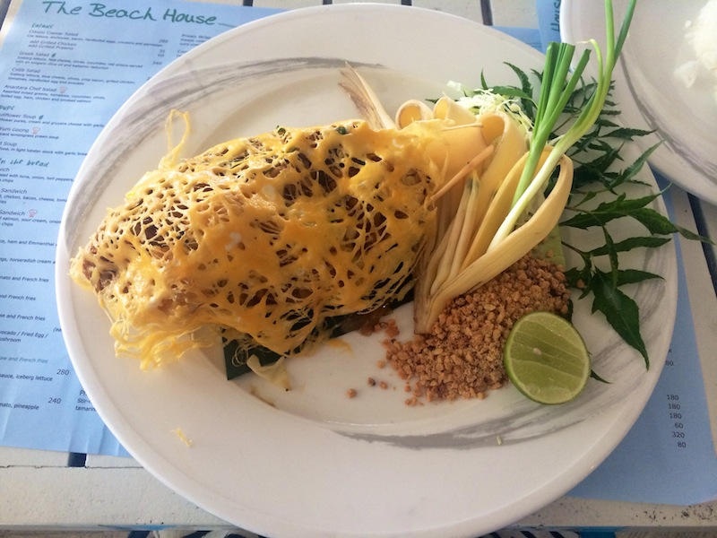 Prawn pad thai at The Beach House served in a giant leaf