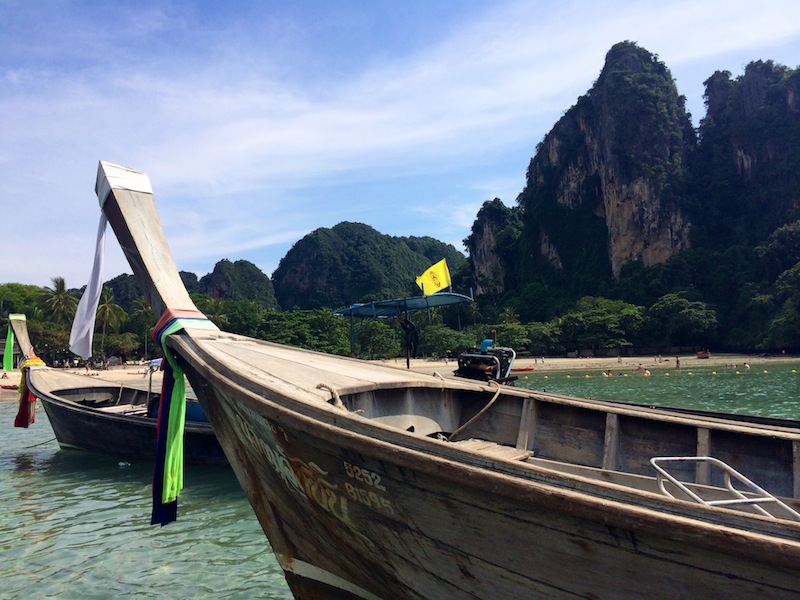 Long-tail boats are the main source of transport in Krabi