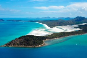 First glimpse of Whitsunday Island and Whitehaven Beach