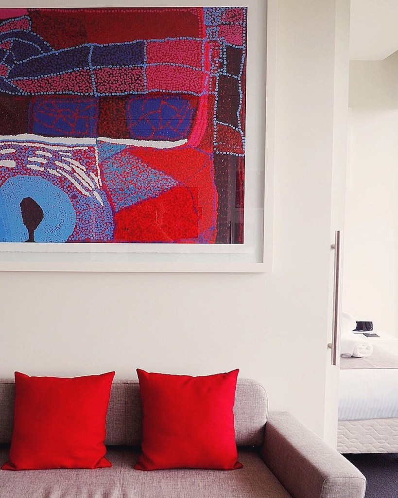 Vibrant work of Tommy Watson in our room at The Watson