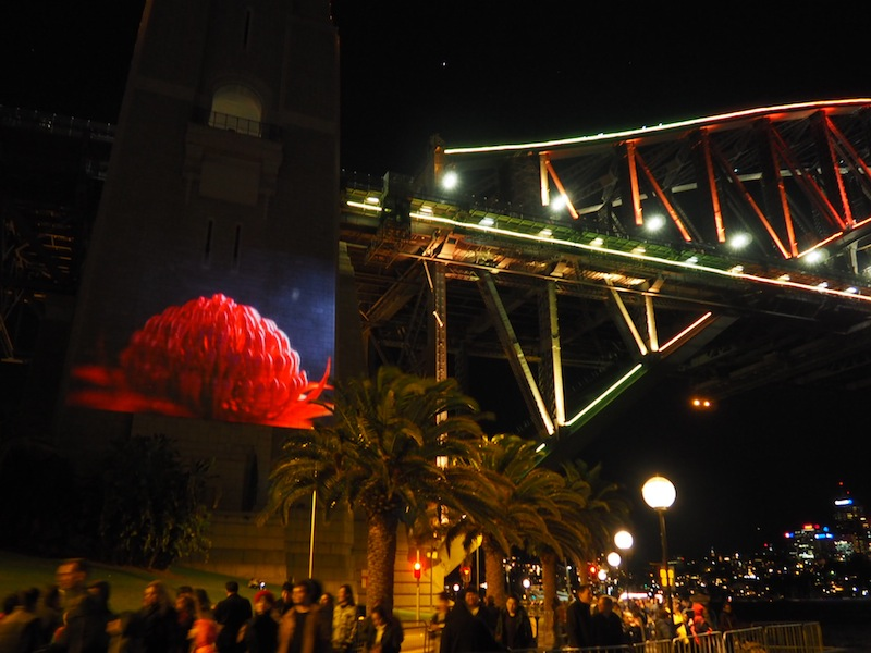 Dancing figures on the south pylon of Sydney Harbour Bridge