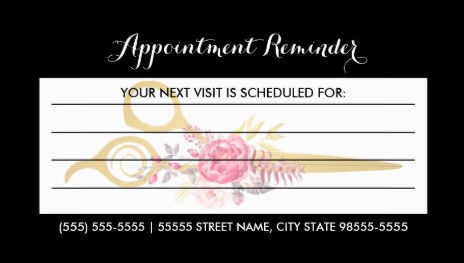 Girly Appointment Reminder Business Cards - Girly Business Cards