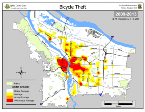 PSU is not a place to park a bike without a good lock, by the way, but downtown Portland is as safe as any other area of the city, the statistics show. Credit: PSU