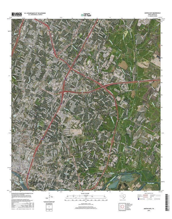 Updated 2016 version of the East Austin US Topo quadrangle with orthoimage turned on. (1:24,000 scale)
