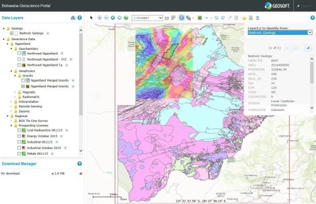 Botswana Geoscience Portal. Source: Geosoft