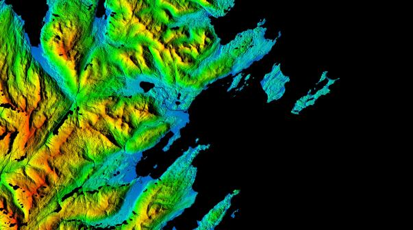 This Arctic digital elevation model image centers on Kodiak Benny Benson State Airport, a public and military airport located five miles southwest of the city of Kodiak. The image highlights the rugged relief surrounding the three runways of the airport and clearly depicts vegetation, buildings, coastal features and the drainage network of the area.