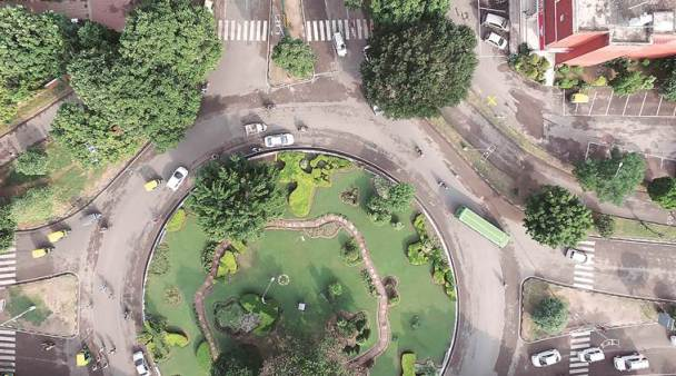 The estate officials carry out an aerial survey of properties – commercial and residential – in Sector 7, Chandigarh using drone. Credit: The Indian Express