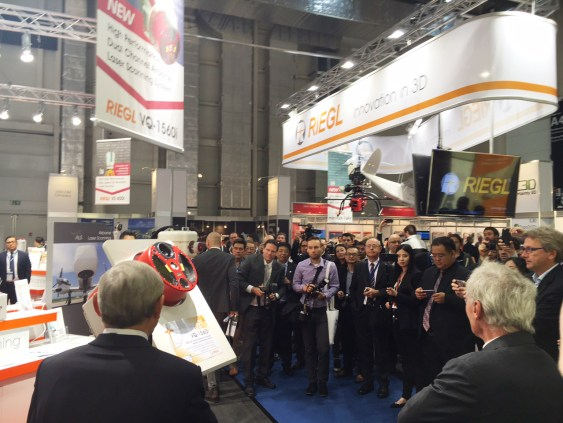 Attracting a lot of attention: The unveiling of the new RIEGL VQ-1560i Dual LiDAR Channel Airborne Laser Scanning System at the RIEGL Intergeo booth in Hamburg