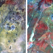 Portions of two Landsat Thematic Mapper images of Northern Kenya, which have a spatial resolution of 30m. The first image was collected in January 2011 during very dry (drought) climate conditions; the second image was collected in December 2015 during very wet conditions. The images are near-infrared color composites, so green vegetation shows up in various shades of red and pink. One of the many applications of satellite image data is to detect, map and monitor change, which in this case shows the dry-green cycle of vegetation directly related to drought or wet conditions. Chavez and the team will use this type of information to help identify areas within the study sites where rainfall occurs, which could indicate possible sources of groundwater recharge.  Credit: NAU News