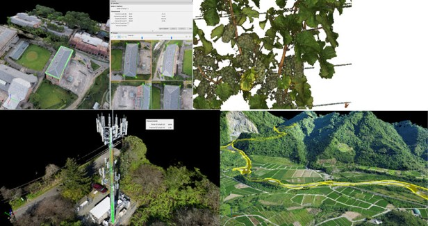 From left to right: vector assessment and generation in rayCloud; accurate and detailed point cloud intersected from multiple images; precise measurements can be done without years of stereo-matching training; digitization of water regions is important for terrain and watershed management