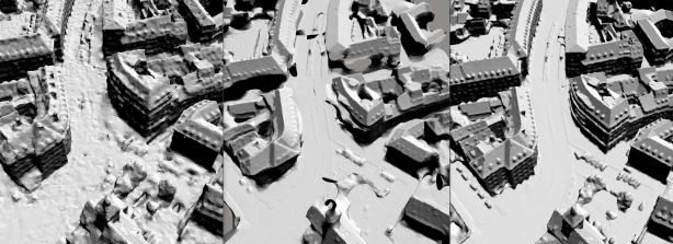 A 3D engineering-ready reality mesh created in ContextCapture comparing (left to right) photogrammetry, LiDAR, and a hybrid input. (Image courtesy of Bentley Systems and City of Strasbourg)