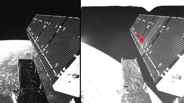 Impact of space debris particle on the solar panel of the Sentinel 1-A Earth Observation satellite