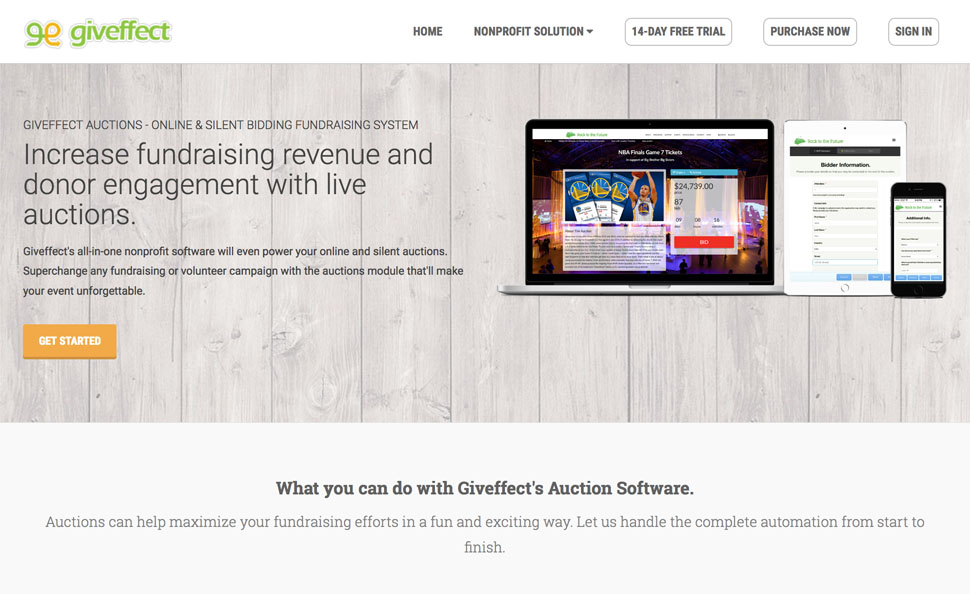 Online Bidding  Auction Fundraising Software for Nonprofits Giveffect - silent auction app free