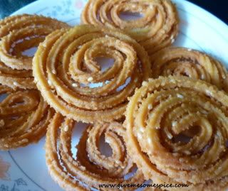 Chakri or Chakli or Spiral Shaped Crispy Indian Rice Snacks