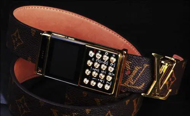 Ostentatious Louis Vuitton Belt Buckle Phone w/built in Fashion Police Alarm
