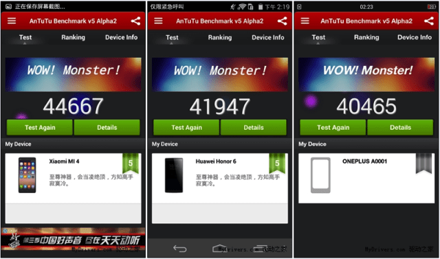 xiaomi Mi4 vs Huawei Honor 5 vs OnePlus One Antutu V5 Benchmarks