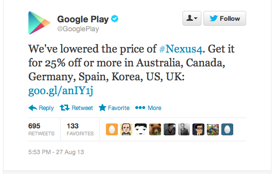 nexus 4 price cut