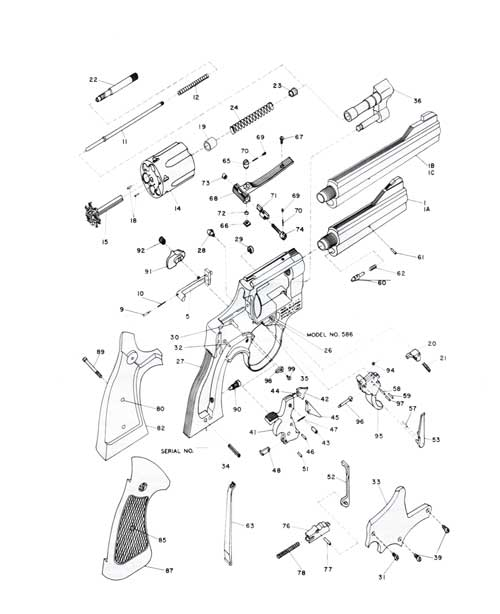 schematic of 357 combat magnum revolver model 586 smith wesson