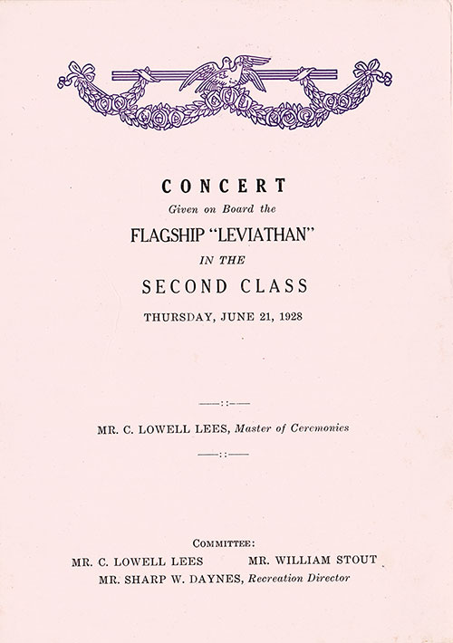 Music Concert Program, SS Leviathan, United States Lines, 21 June