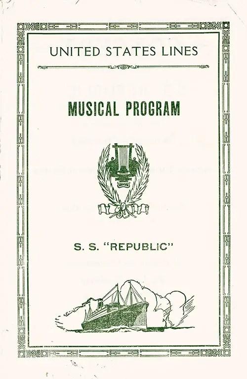 Benefit Music Program, SS Republic GG Archives