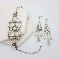 Pearl and crystal Earrings & Bracelet Set - Absolutely ...