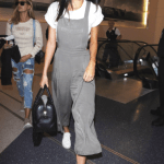 Kendall Jenner wearing Pleated Wide-Leg Overalls from Forever 21