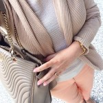 Beige Top, Brown Cardigan and Peach Pants