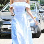 Jessica Alba wearing Reformation Jaclyn Dress