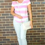 Baby Blue Pants and Striped White and Pink Tee
