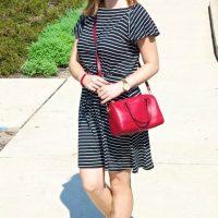 Petite Striped Flutter Blouson Dress