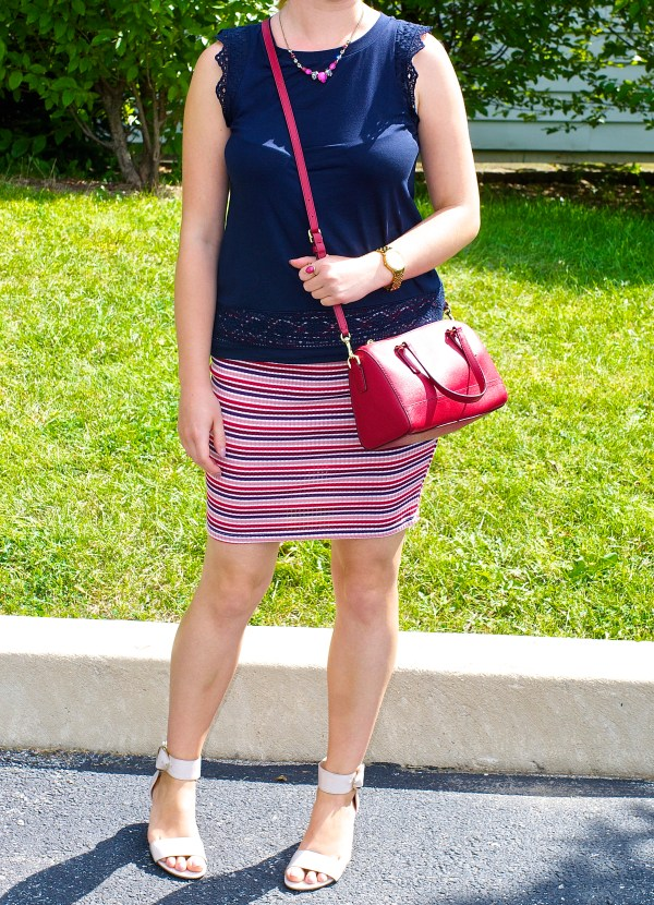 Striped pencil Skirt and Navy Blue Top