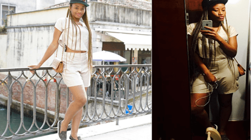 From Venice With love! Amara Kanu Flaunts Legs In Shorts