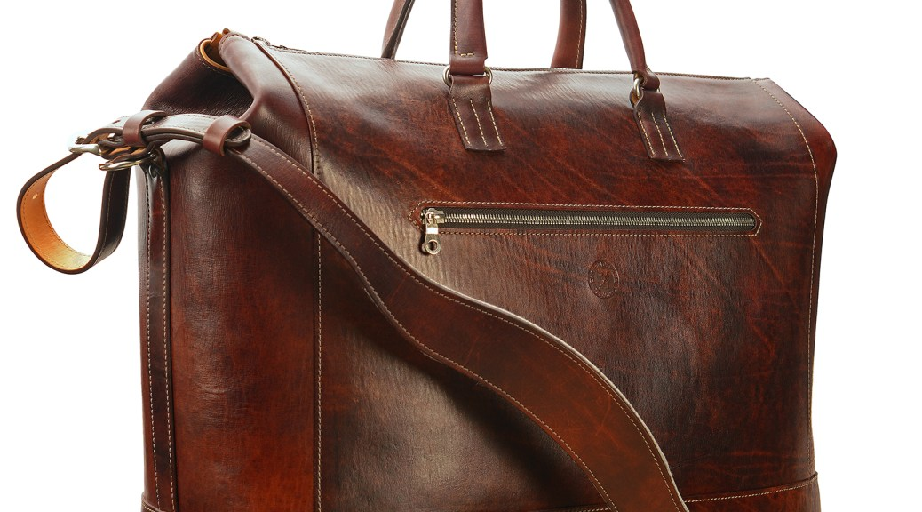 Hand-grained,-hand-colored,-mahogany-Club-Bag-with-hand-grained-natural-trim;-19-x-13-x-8'-small