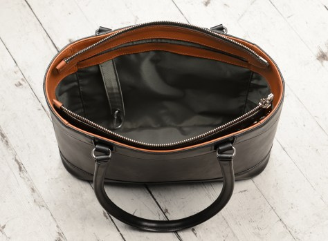 Hand-burnished,-black-Business-Tote-with-chestnut-trim-and-long-handles;-14-x-10-x-4-topdown2
