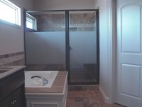 Custom shower doors, etched and painted