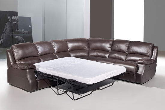 Esprit Leather Corner Sofa With Recliner And Sofabed Brown