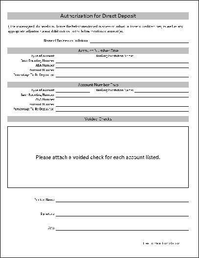 Adp Direct Deposit form Template - Glendale Community Document Template