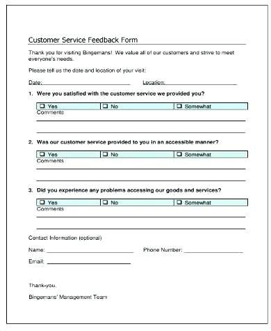 Customer Feedback Form Template Word - Glendale Community Document