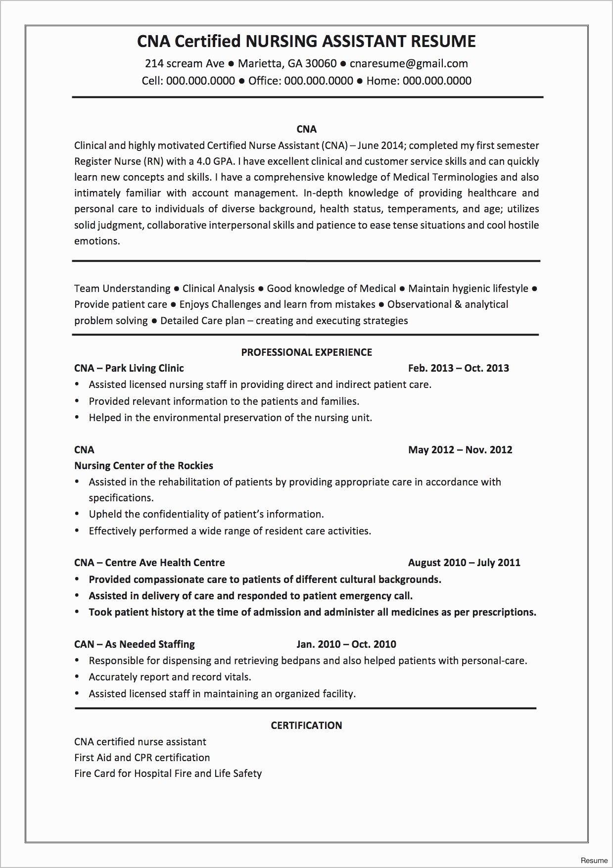 sample of good nursing resume