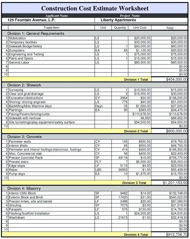 cost estimate worksheet template - Pinarkubkireklamowe
