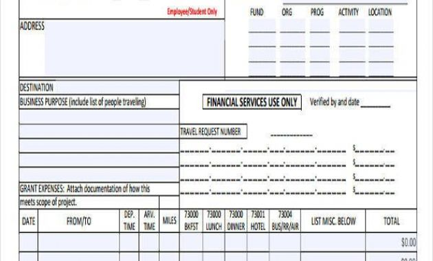 sample expense report Archives - Glendale Community Document Template