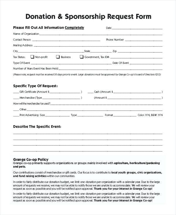 Sponsorship Request form Template - Glendale Community Document Template