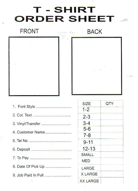 T Shirt order form Template Word - Glendale Community Document Template